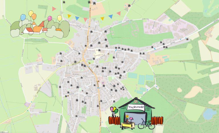 Die Karte mit allen Flohmarktständen in ganz Holm